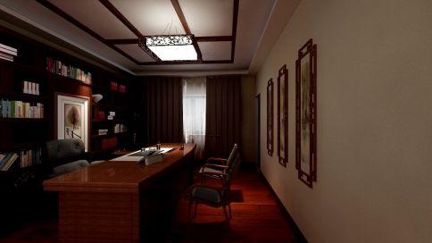 中式办公室装修设计案例 中式办公室效果图欣赏