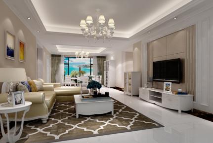 嘉兴欧式风格三房装修设计效果图 西西米亚