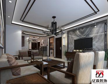 廊坊新中式风格三房装修设计 金地阳光