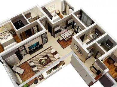 北京新中式风格三房装修 中式风格家庭装修效果图