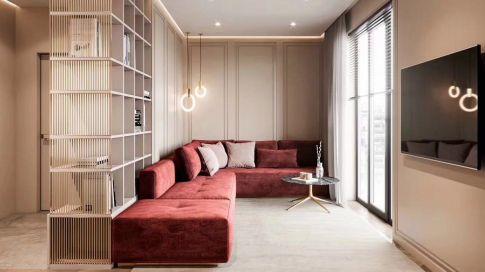 佛山龙湖春江名城花园两房一厅一卫现代风格装修效果图