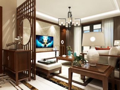 济南中式风格家庭装修设计 海尔云三房装修设计欣赏