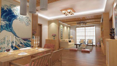 中山市中澳滨河湾日式三居室装修效果图欣赏
