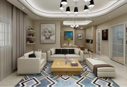 西安奥达文景观园现代两居室装修效果图欣赏