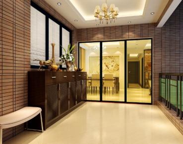 长沙辉煌国际城中式风格三居室装修效果图