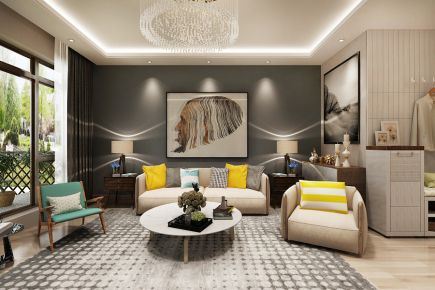 武汉城投四新之光120平米现代三居室装修效果图