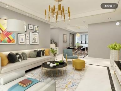 惠州景富时代现代简约风格四居室装修效果图
