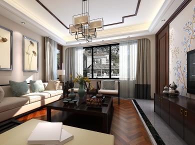 宁波中式风格三房装修效果图 苏园家庭装修设计欣赏