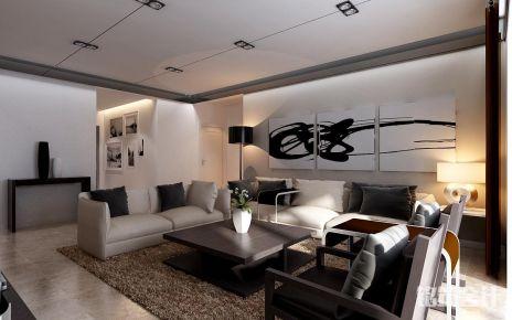 西安绿地城王现代风格三居室装修效果图