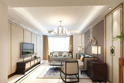 烟台开发区海鑫家园中式风格四居室装修效果图