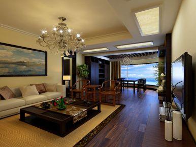 佛山恒达花园中式风格三居室装修效果图
