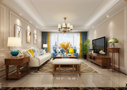 西安紫郡城美式三居室装修效果图欣赏