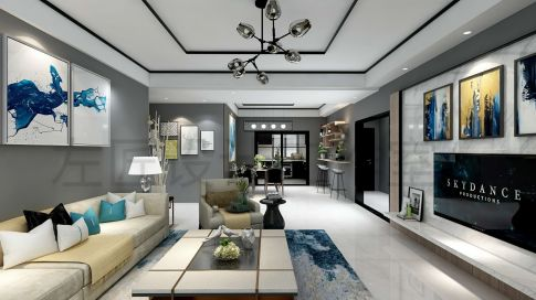 西安华远海蓝城现代三居室装修效果图