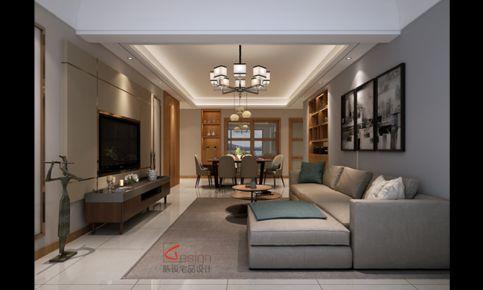 长沙悦湖山现代三居室装修效果图