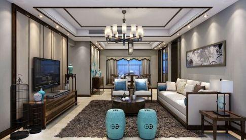 珠海金色名都中式三居室装修效果图