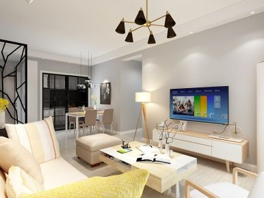 中山大信海岸家园北欧风格三居室装修效果图