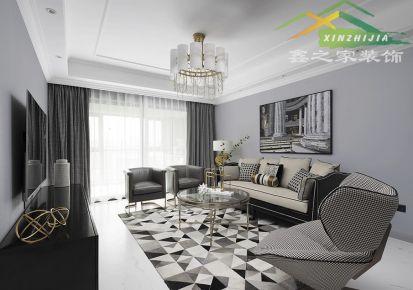 万振逍遥苑95平美式室内三居设计效果图