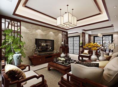 武汉沉稳中式风格三房装修设计效果图