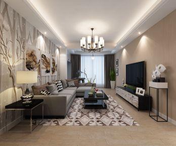 创意混搭风格三房装修效果图  宁波嘉利玫瑰园