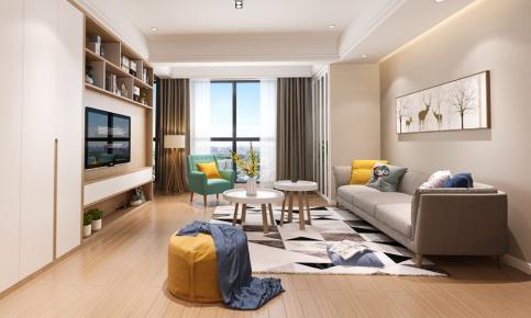 温州现代风格三居室装修设计 辉煌中梁首府