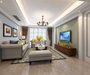 三居室中式风格装修设计 宁波玫瑰园