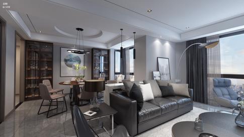 温州滨江一号现代风格三居室设计案例