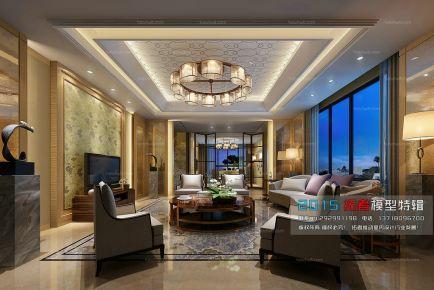 泉州中央第一街现代风格三居室装修效果图
