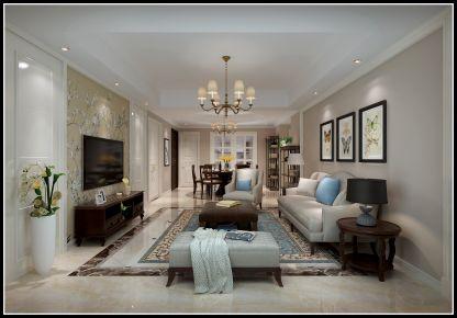 无锡无锡孔雀城美式风格三居室装修案例