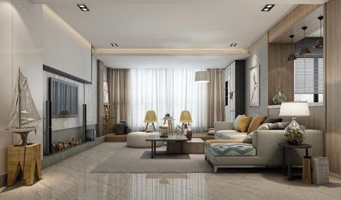 中山紫领国际现代风格三居室装装修案例