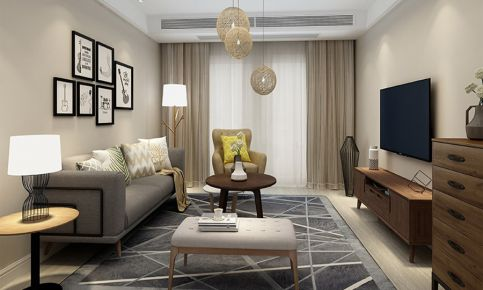 星汇品峰现代风格三居室装修效果图