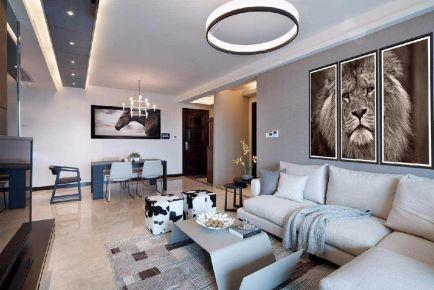 上源华庭小区现代风格三居室装修效果图