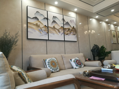 佛山珑景花园中式风格三居室装修效果图