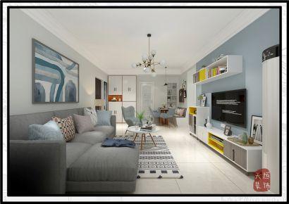 阳光华府现代简约装修案例 现代简约风格三房装修效果图