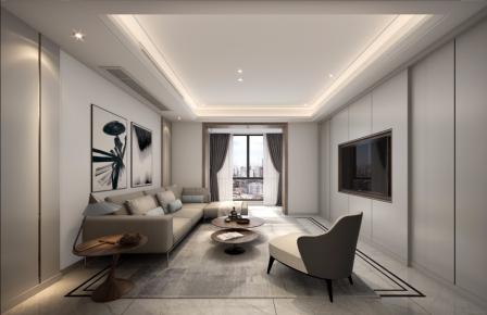 杭州时代悦府现代家装风格三居室装修效果图