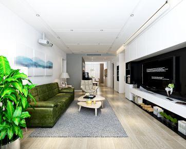 哈尔滨招商贝肯山现代简约三居室装修效果图