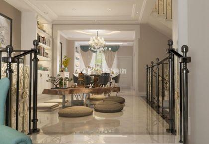 重庆左岸长郡|400平别墅美式风格装修效果图