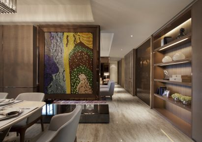 现代混搭风格效果图三室两厅