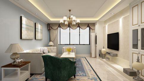 西安湿地一号美式风格小三室装修效果图