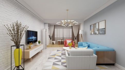 西安皇家花园创意混搭风格三居装修效果图