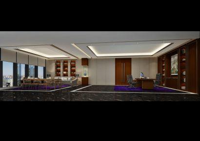 某金融办公司公室装修效果图 中式风格办公室装修设计
