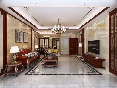 东莞盛和豪园3-201 中式风格小户型装修设计效果图