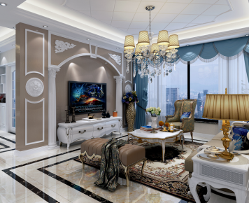 简欧风格三房家装设计 欧式风格家庭装修效果图