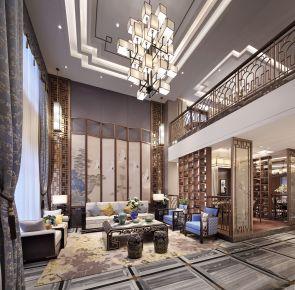 新中式别墅样板房装修 新中式风格别墅装修效果图