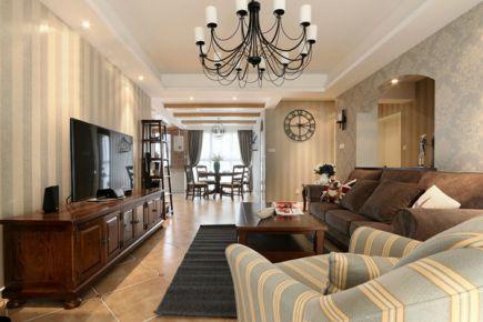 115平米美式风小三居装修 美式风格家庭装修设计