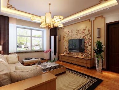 青岛都市果岭 中式风格三房装修设计效果图