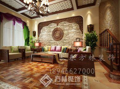 长春方林装饰中式风格三房装修效果图