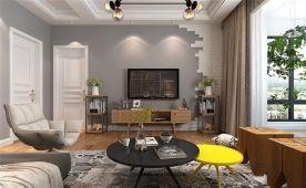 贵阳花果园三居室现代北欧风格装修效果图