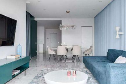 现代风格蓝色系两房装修 现代风格家庭装修效果图