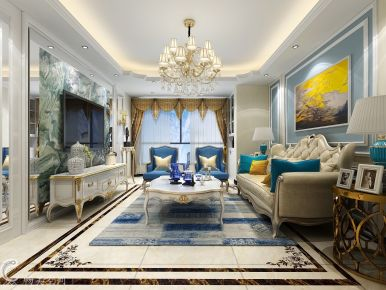 简欧风格蓝色系列装修设计 欧式风格三房装修设计