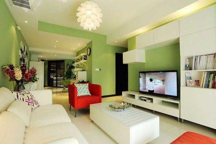 绿色小清新 简约风格三房装修设计效果图